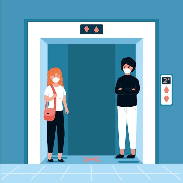 Social distancing in a elevator Premium Vector