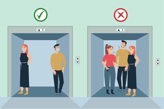 Allontanamento sociale in ascensore Vettore gratuito
