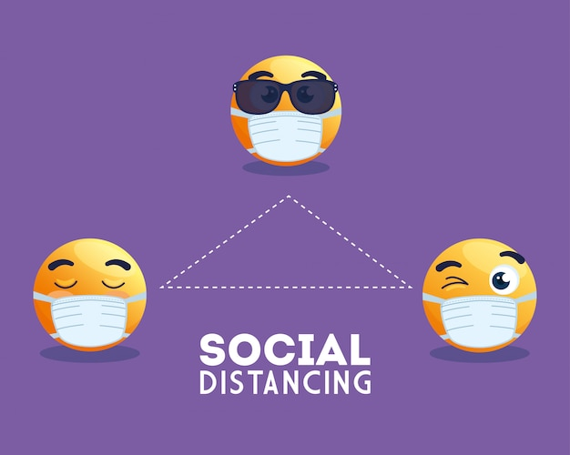 Social distancing emoji wearing medical mask, yellow faces in public social distancing for covid 19