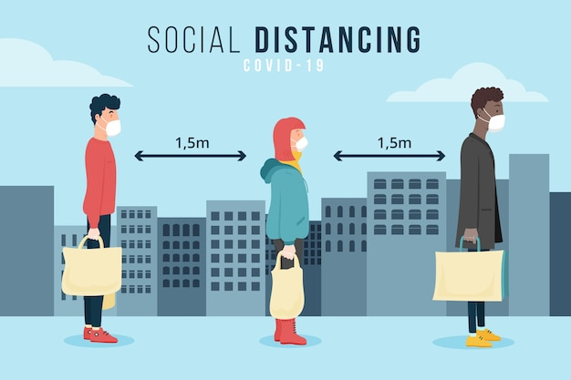 Social distancing illustrated concept Free Vector