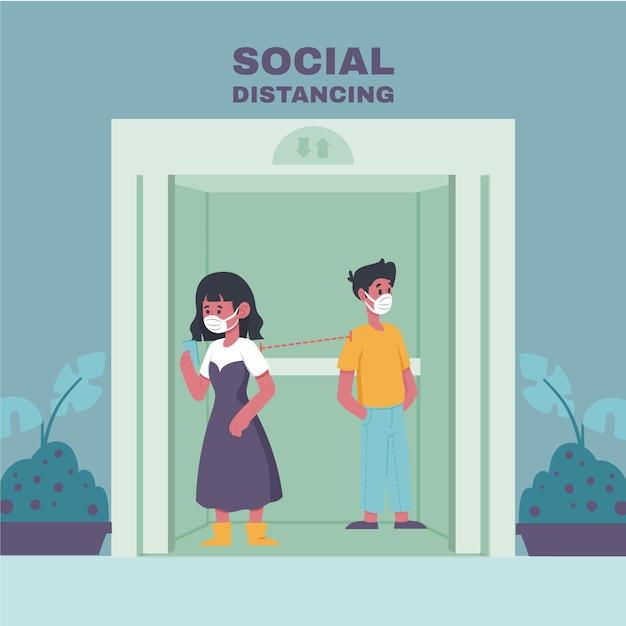 Социальное дистанцирование в лифте Бесплатные векторы