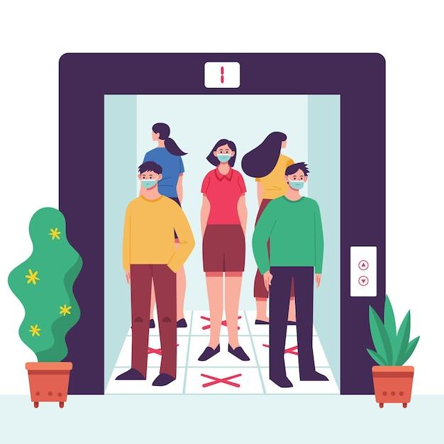 엘리베이터에서 사회적 거리두기 프리미엄 벡터