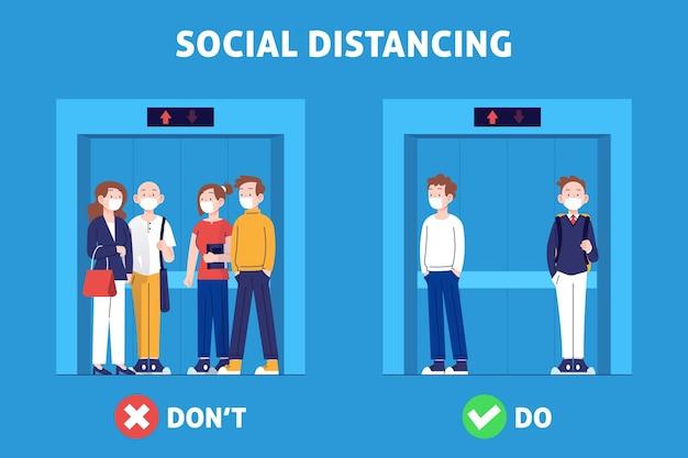 엘리베이터 그림에서 사회적 거리두기 무료 벡터