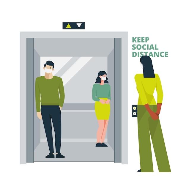 Социальное дистанцирование в лифте Premium векторы