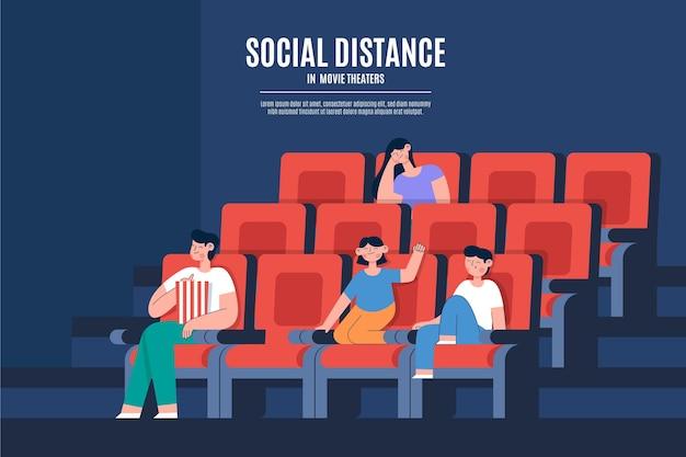 Социальное дистанцирование в кинотеатрах Бесплатные векторы