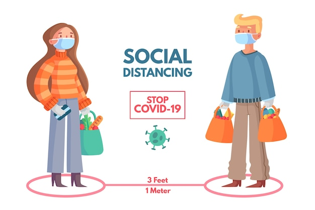 Progettazione di modelli di infografica per social distanza Vettore gratuito