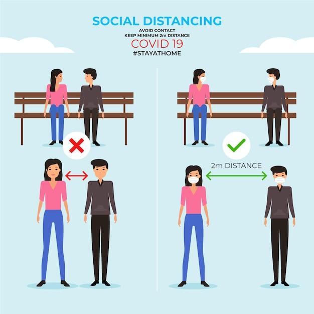 Infografica di allontanamento sociale Vettore gratuito