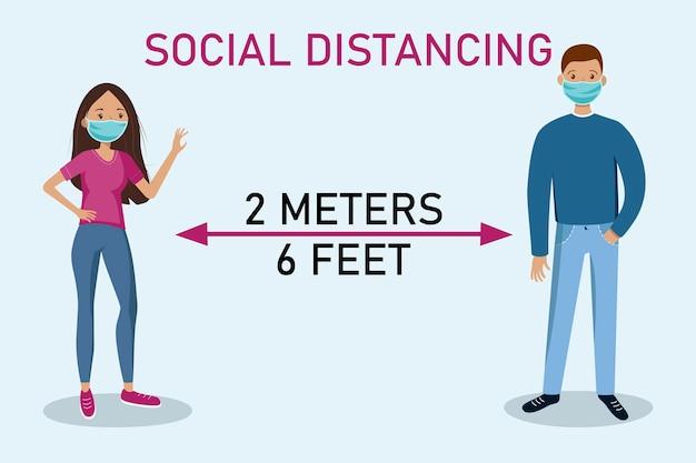 Социальное дистанцирование. держи дистанцию. мужчина и женщина держатся на расстоянии. Premium векторы