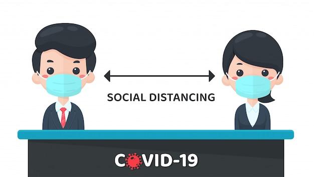 Социальное дистанцирование. меры по предотвращению распространения вируса короны в социальном пространстве. не более 1 метра ближе к окружающим. Premium векторы