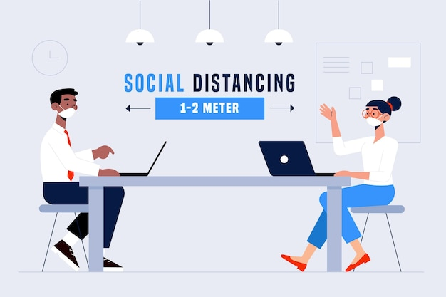 Social distancing in a meeting concept Free Vector