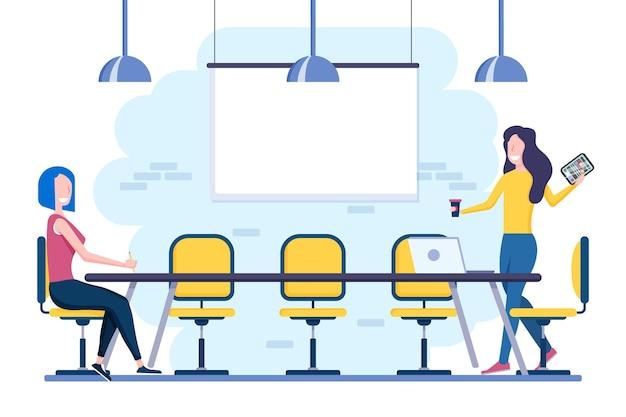 Distanziamento sociale in un tema di illustrazione della riunione Vettore gratuito