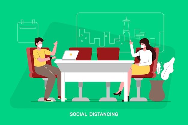 Distanziamento sociale in una riunione Vettore gratuito