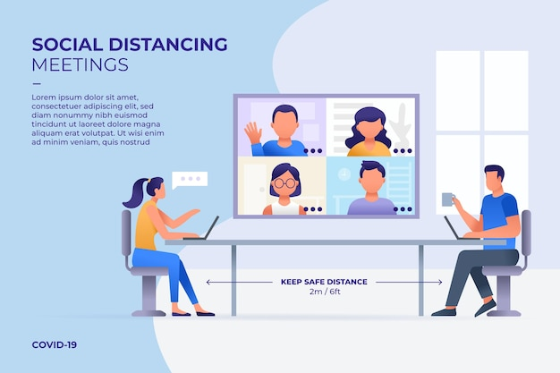 Social distancing in a meeting Free Vector