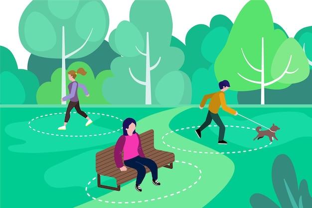 Distanziamento sociale nel concetto di parco Vettore gratuito