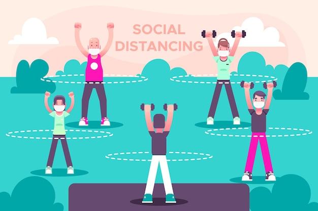 Distanziamento sociale nel design di un parco Vettore gratuito