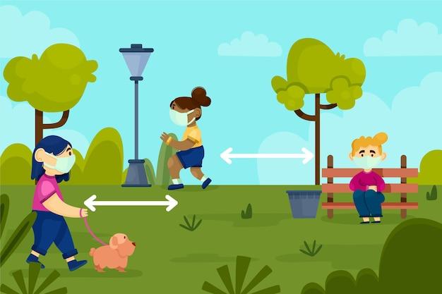 Distanziamento sociale in un parco Vettore gratuito