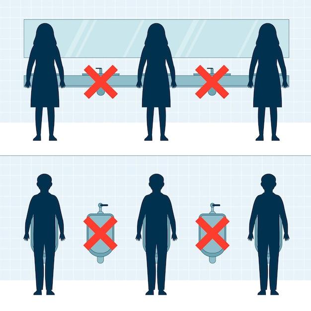 Distanziamento sociale nei bagni pubblici Vettore gratuito