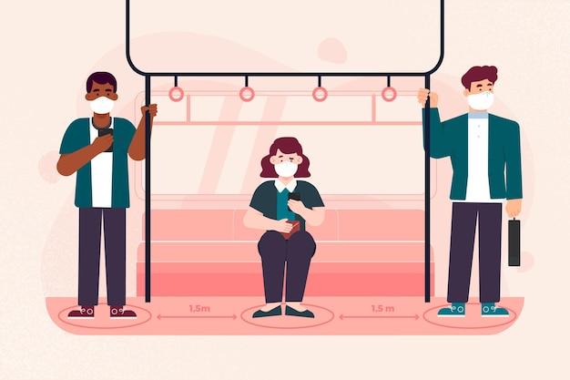 Distanziamento sociale nel concetto di trasporto pubblico Vettore gratuito