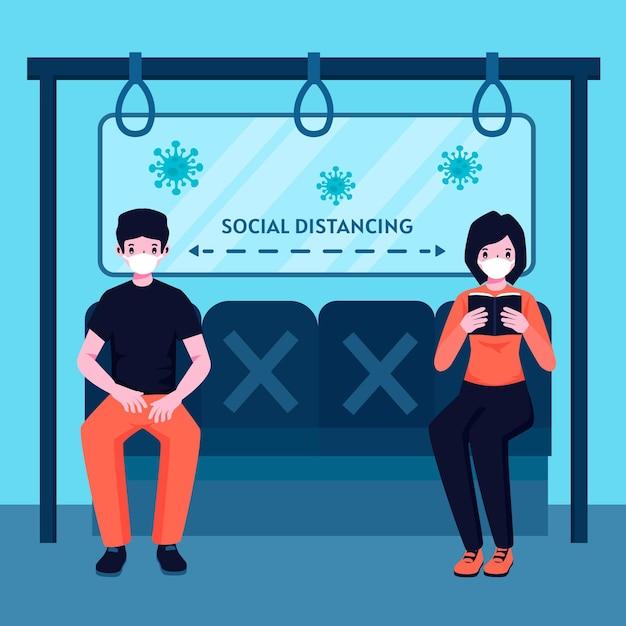 Distanziamento sociale nei trasporti pubblici Vettore gratuito