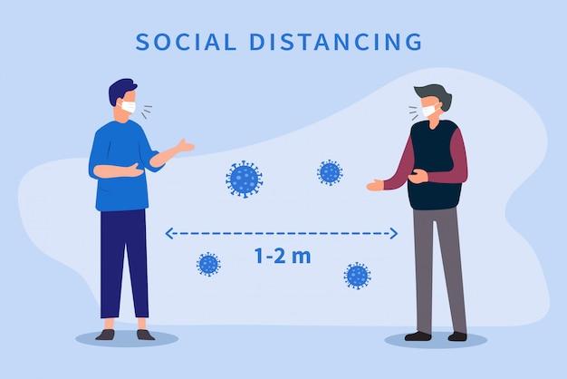 Социальное дистанцирование. пространство между людьми, чтобы избежать распространения вируса covid-19. держите дистанцию 1-2 метра. Premium векторы