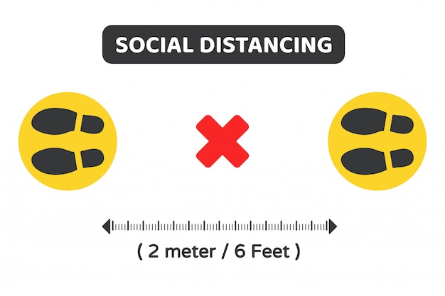 Social distancing. vector symbol on the ground to indicate the location of the queue keep 2 meters away from others. Premium Vector