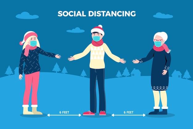 Allontanamento sociale con personaggi natalizi Vettore gratuito