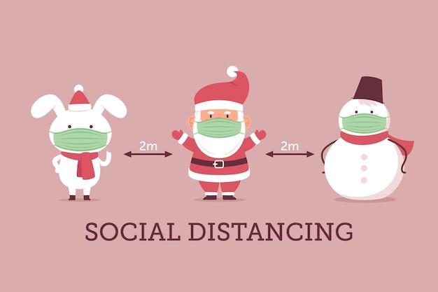 クリスマスキャラクターとの社会的距離 無料ベクター