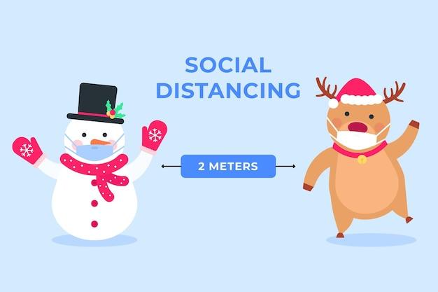 雪だるまとトナカイとの社会的距離 Premiumベクター