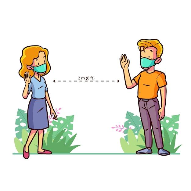 Illustrazione sociale distana Vettore gratuito