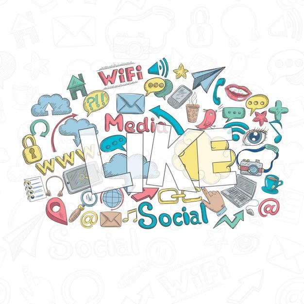 Social doodle like Free Vector