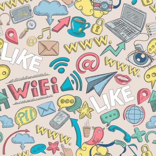 Social doodle seamless Free Vector