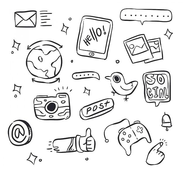 Social doodle Premium Vector