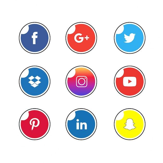 Social icon set Premium Vector