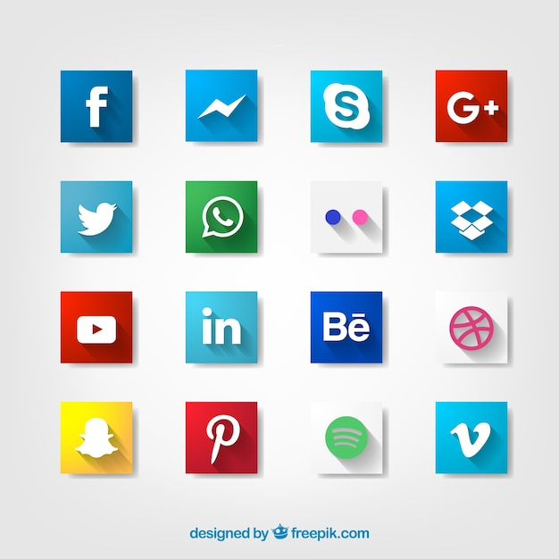 Social icons with long shadow design Free Vector
