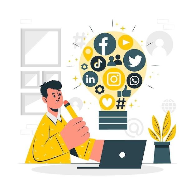 Illustrazione di concetto di idee sociali Vettore gratuito