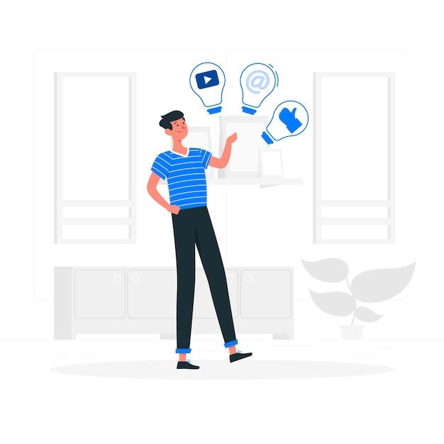 Иллюстрация концепции социальных идей Бесплатные векторы