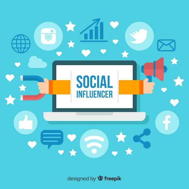 Social influencer background Free Vector