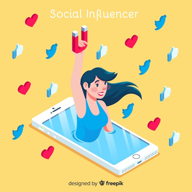 Social influencer concept with isometric view Free Vector