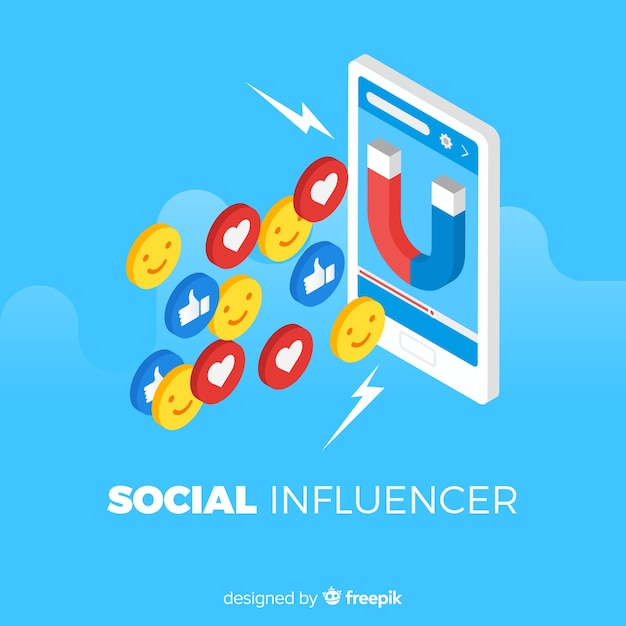 Social influencer flat background Free Vector