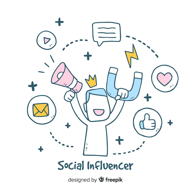 Social influencer hand drawn background Free Vector
