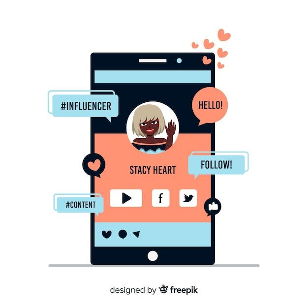 Social influencer marketing Free Vector