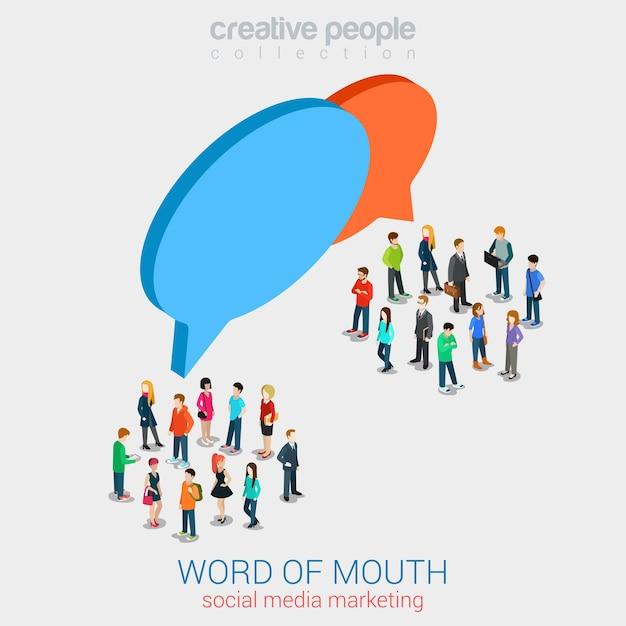 ソーシャルマーケティングの口コミゴシップフラット3dウェブ 無料ベクター
