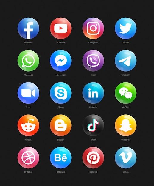 소셜 미디어 3d 웹 라운드 아이콘 세트 프리미엄 벡터