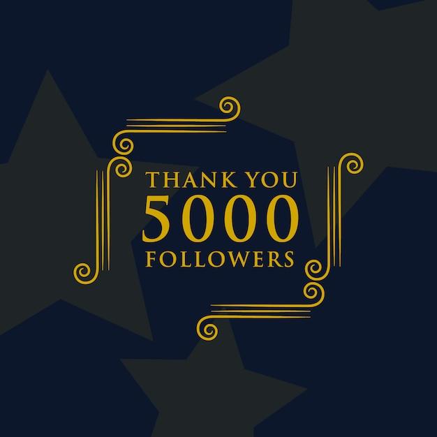 Social media 5000 followers thank you message design Free Vector