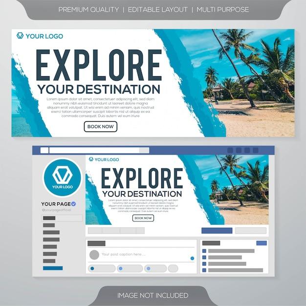 Social media ads cover template Premium Vector