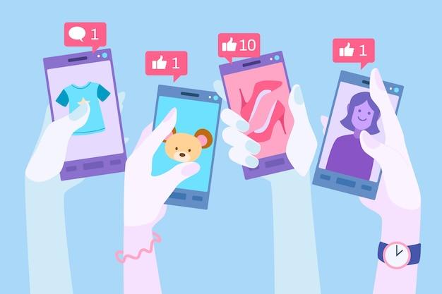 소셜 미디어 광고 휴대 전화 개념 무료 벡터