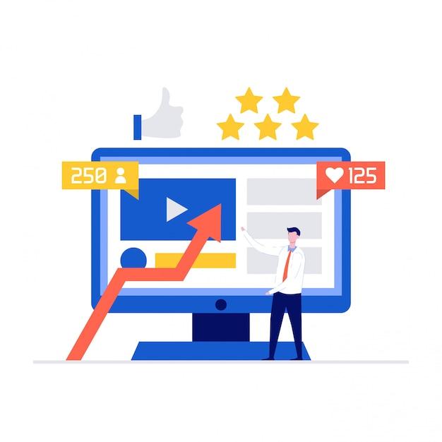 컴퓨터 화면 근처에 서있는 문자로 소셜 미디어 대사 그림 개념. 프리미엄 벡터