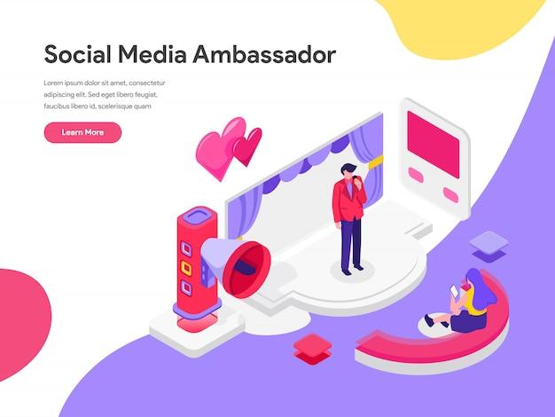Social media ambassador illustration concept Premium Vector