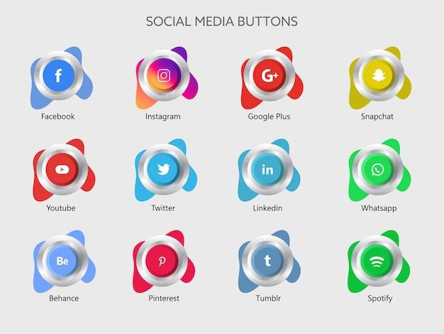 소셜 미디어 앱 버튼 그림 프리미엄 벡터