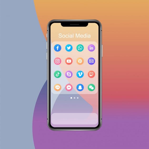 스마트 폰 및 앱 아이콘의 소셜 미디어 앱 폴더 프리미엄 벡터